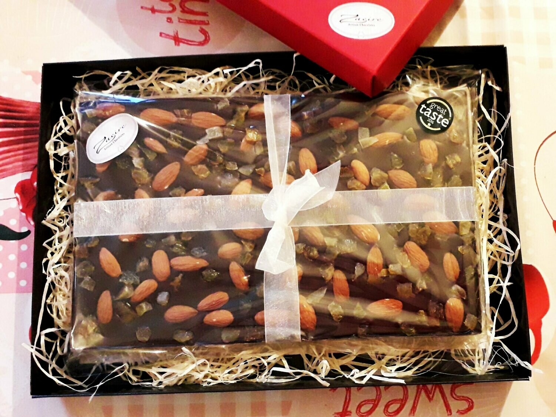 Large 1kg Dark Chocolate with Whole Almonds, Candied Orange & Golden Raisins