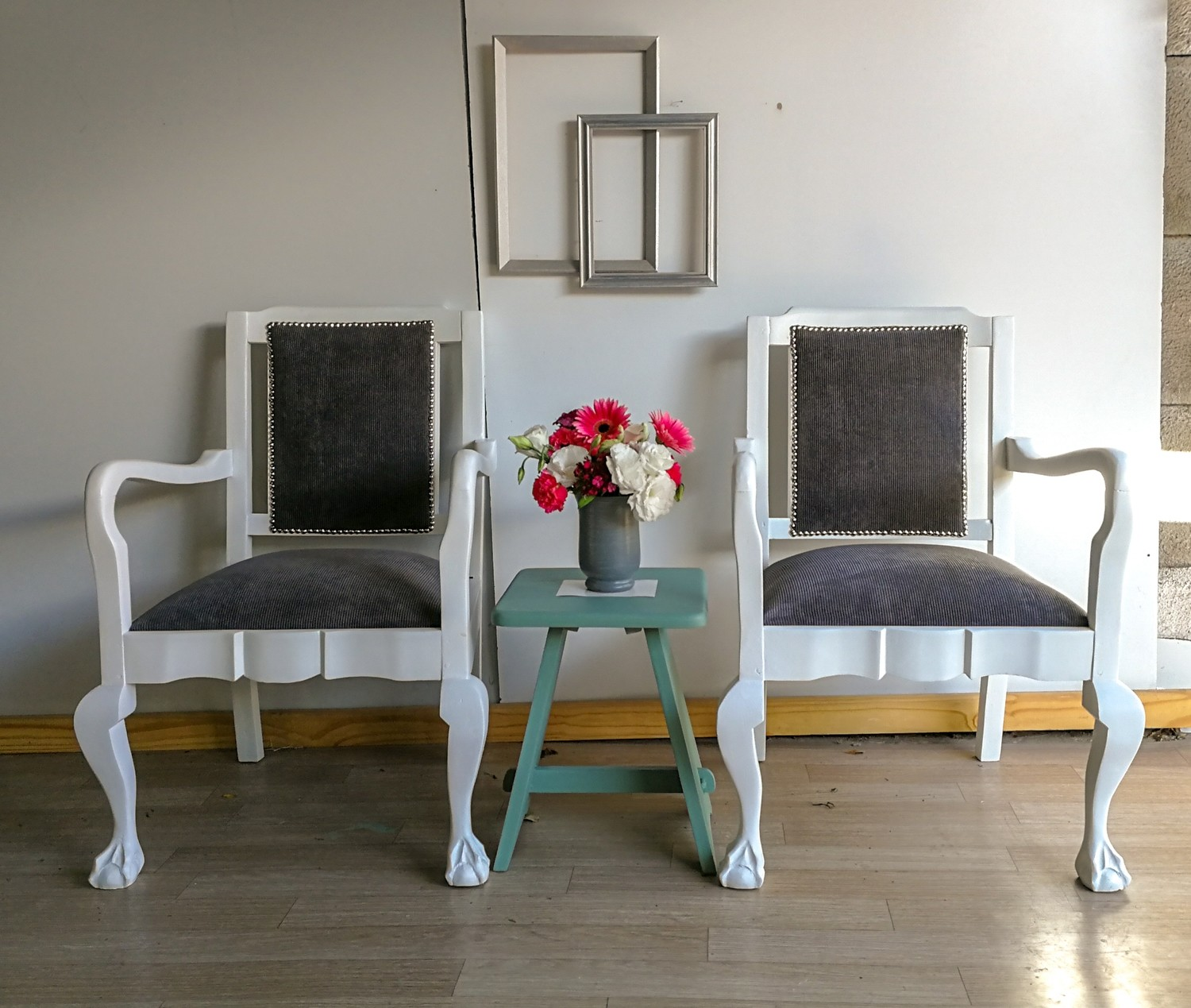 Armchairs - white and grey