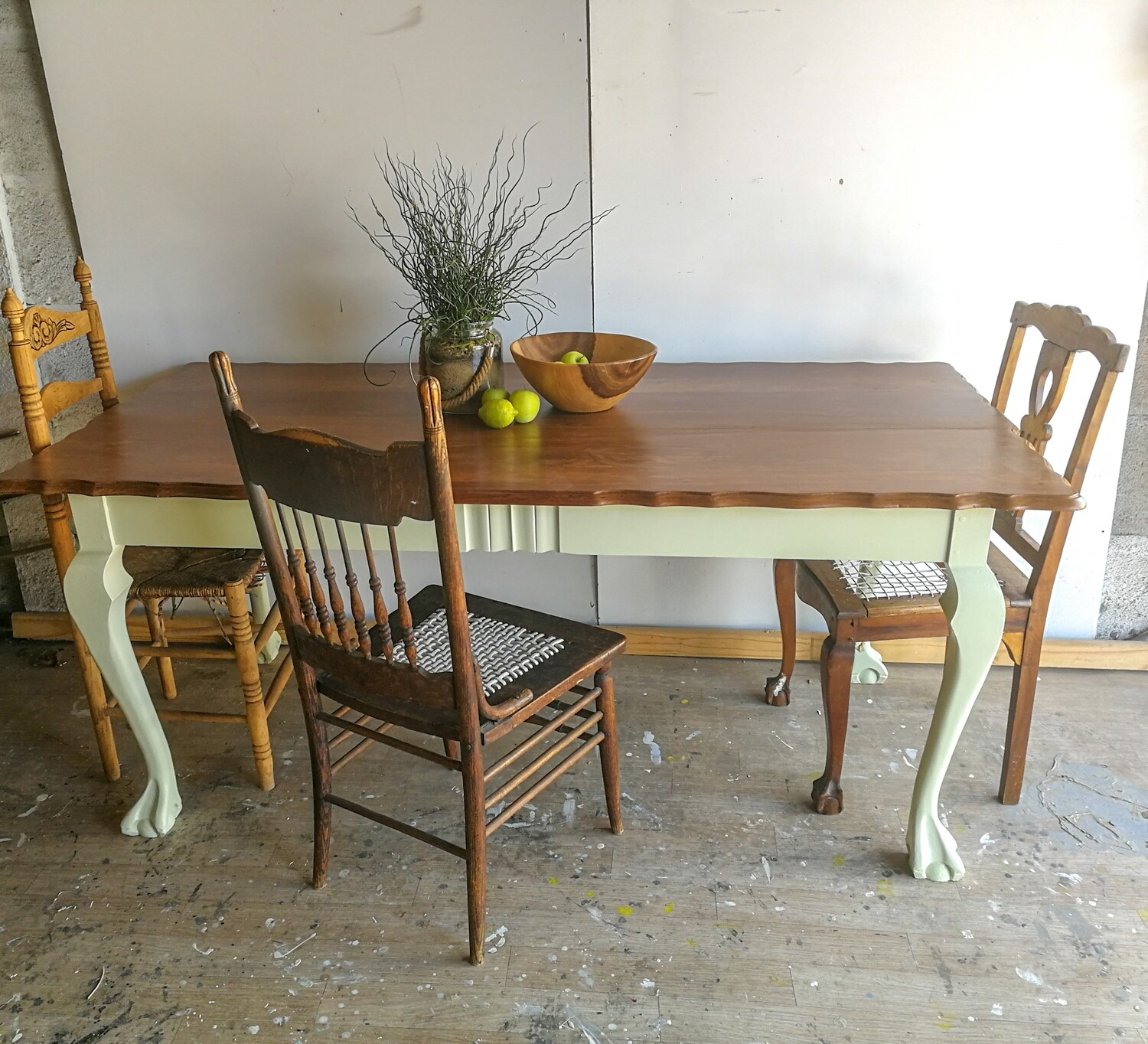 SALE: Painted Dining Table - Imbuia