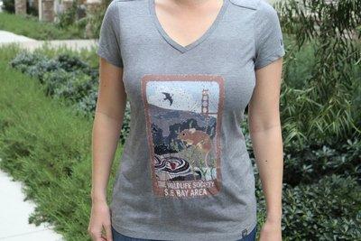 Women's V-Neck Antique Gray T-Shirt
