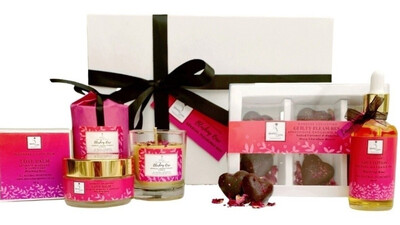 Sensual Pleasures Box- Sensual Aromatherapy Massage Oil, Lubricant & Aphrodisiac Chocolate Treats
