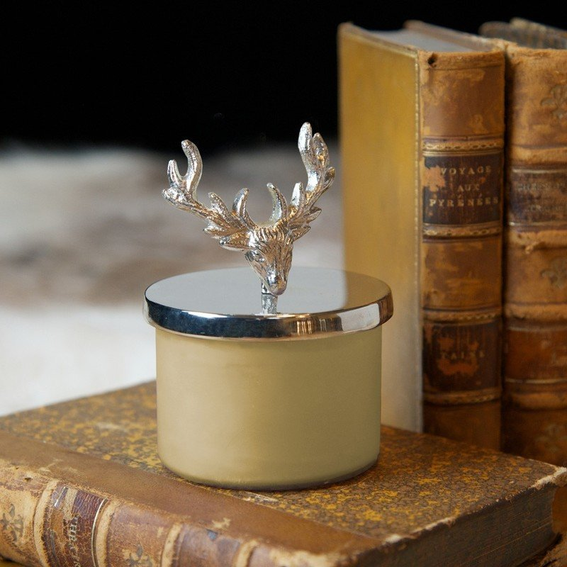 Glass Candle Holder & Stag Lid Snuffer