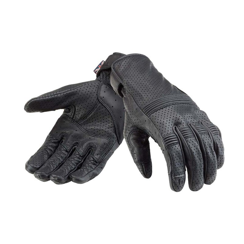 Triumph Cali Perforated Black Leather Motorcycle Gloves
