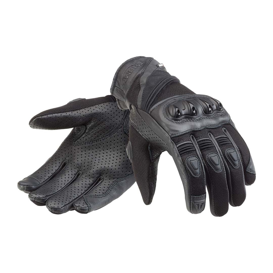 Triumph Pitsford Black Perforated Leather Motorcycle Gloves
