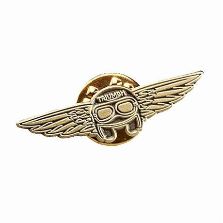 Triumph Helmet & Wings Copper Pin Badge