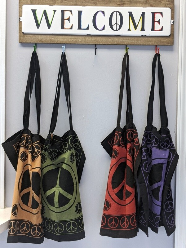 Peace Sign Cotton Tote Bag (Assorted Colors)