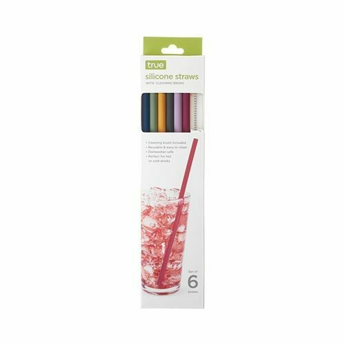 Silicone Straws, Set Of 6 With Cleaning Brush By TRUE