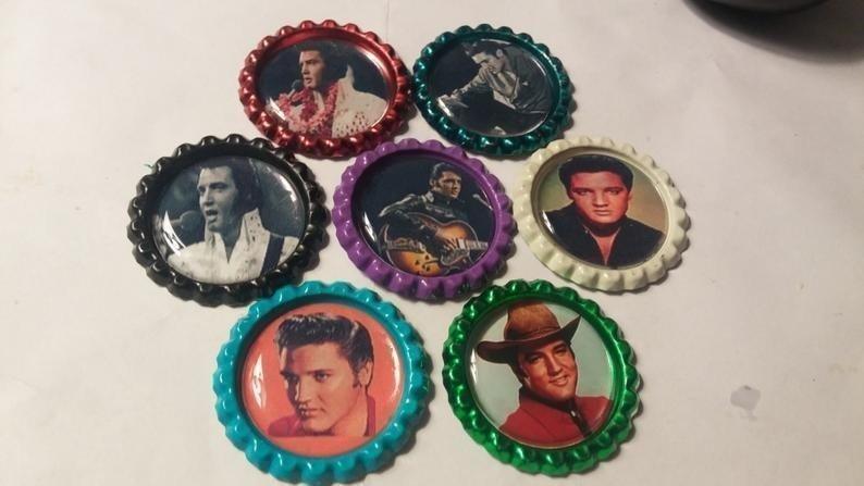 Set of 7 Elvis Presley bottle cap magnets multi-color
