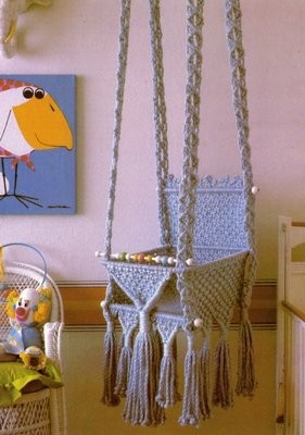 Macrame Baby Swing Pattern PDF Instant Digital Download 1978 Retro Nursery Hanging Infant Swinging Seat