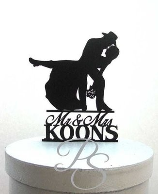 Personalized Wedding Cake Topper - Country Western Wedding 3 with Mr & Mrs last name