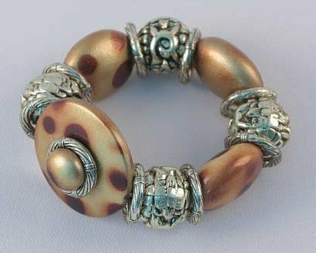 Silver Tone & Brown Beads Stretch Bracelet