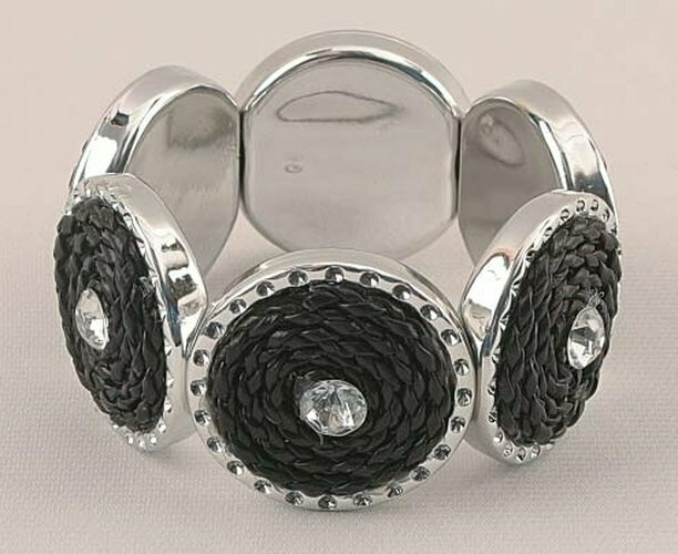 Silver & Black Tone Stretch Bracelet