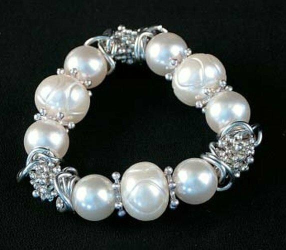 Silver Tone & White Beads Stretch Bracelet
