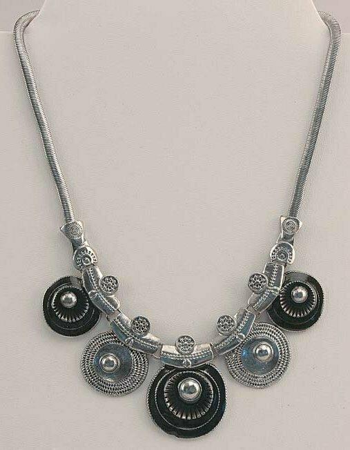 Silver Tone & Black Necklace