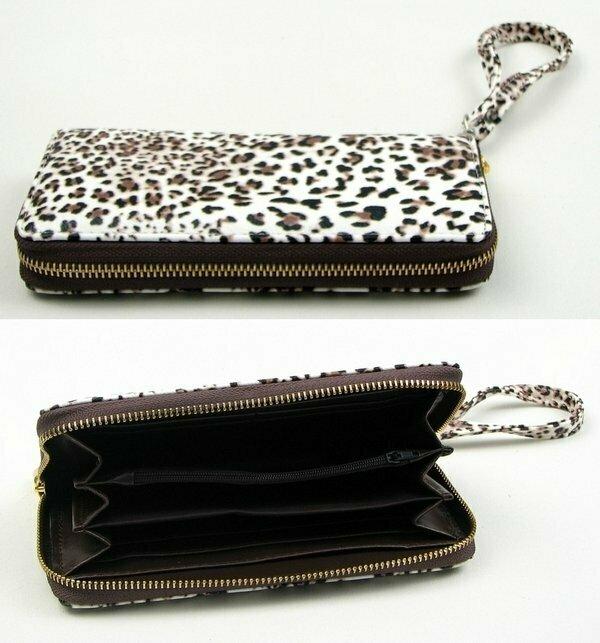 Brown Animal Print Zipper Wallet