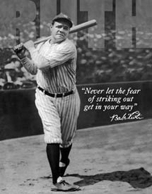 Tin Sign - Babe Ruth Baseball No Fear