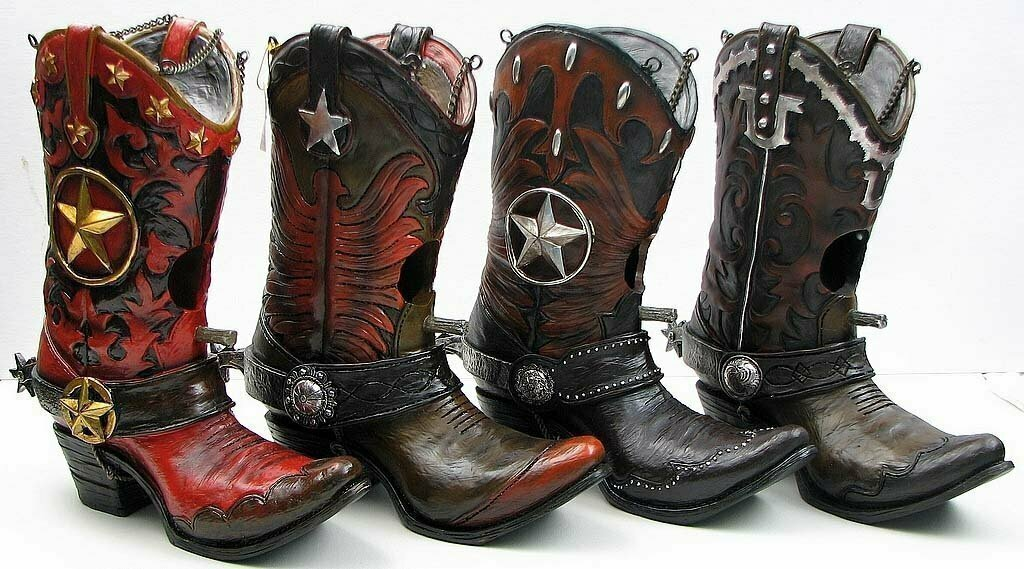 Resin Cowboy Boot Birdhouse 4 assorted price each