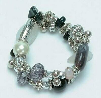 Silver Tone & Beads Bracelet