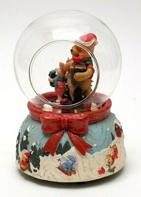 Roman Disney Collection: Musical Woodgrain Pooh Piglet in Dome