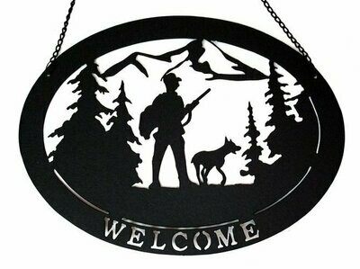 Large Metal Welcome Hunter with Dog Sign