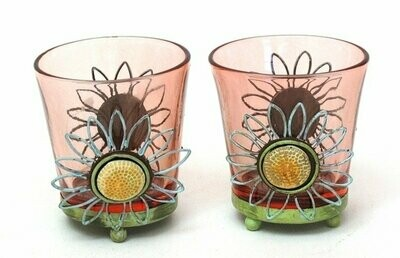 Round Pink Glass Votive Holder Set of Two