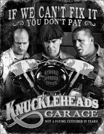 Tin Sign Stooges - Knuckleheads Garage