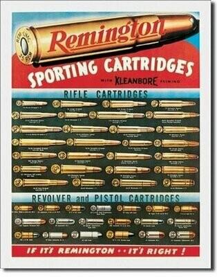 Tin Sign Remington Sporting Cartridges