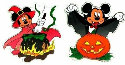 Disney Mickey and Minnie Halloween Window Jelz Set of 2