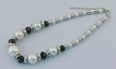 Silver Tone Necklace with Black & White Beads