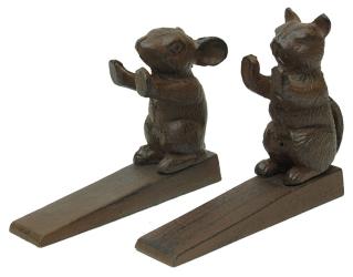 Set of 2 Cast Iron Cat & Mouse Door Wedges