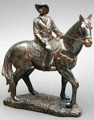 Bronze look Cowboy on Horse