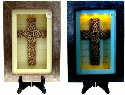 Spiritual Harvest Celtic Cross Lighted Shadow Box