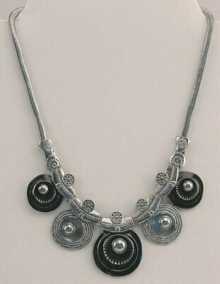 Silver Tone & Black Necklace