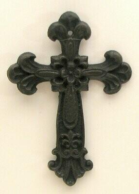 Fleur De Lis Wall Cross Cast Iron