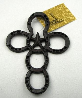 Small Cast Iron Horseshoe Cross Set /2