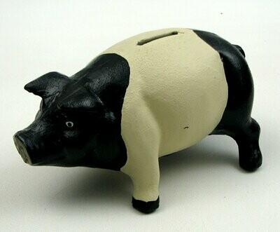 Cast Iron Pig Bank Black/White