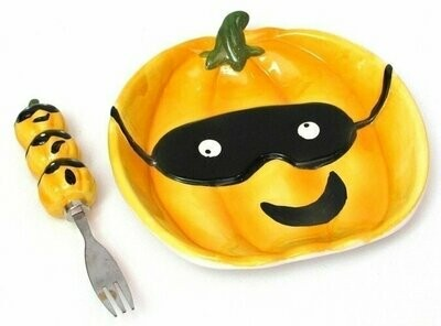 Ceramic Pumpkin Plate with Fork Set