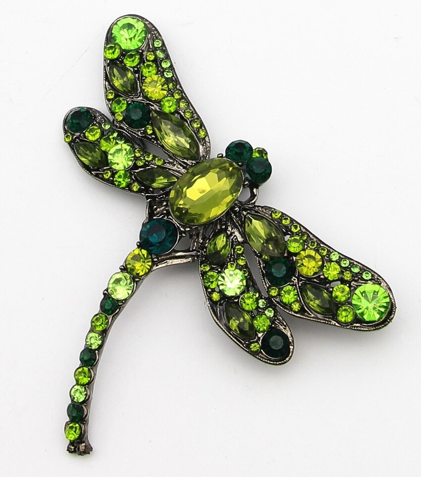 Statement Crystal Dragonfly Brooch Pin