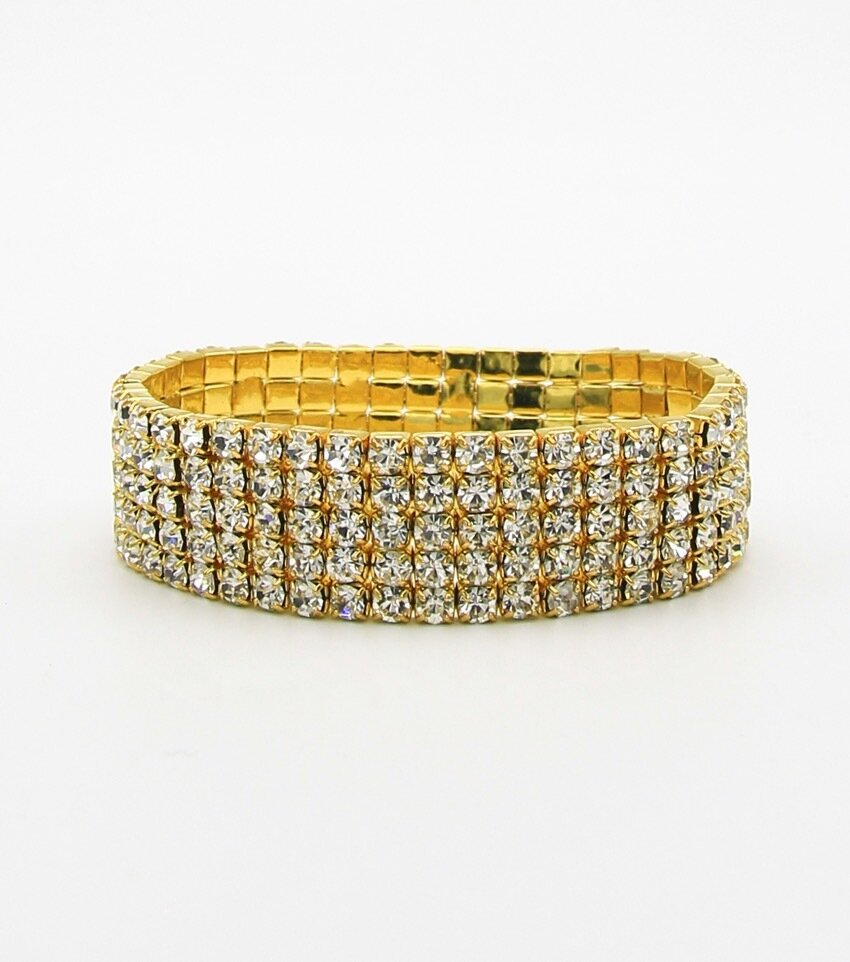 5-Row Rhienstone Stretch Bracelet