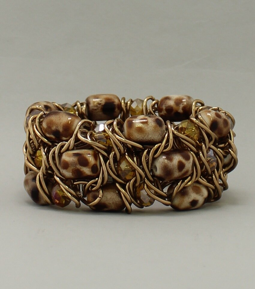 Painted Ceramic Beaded Stretch Bracelet
