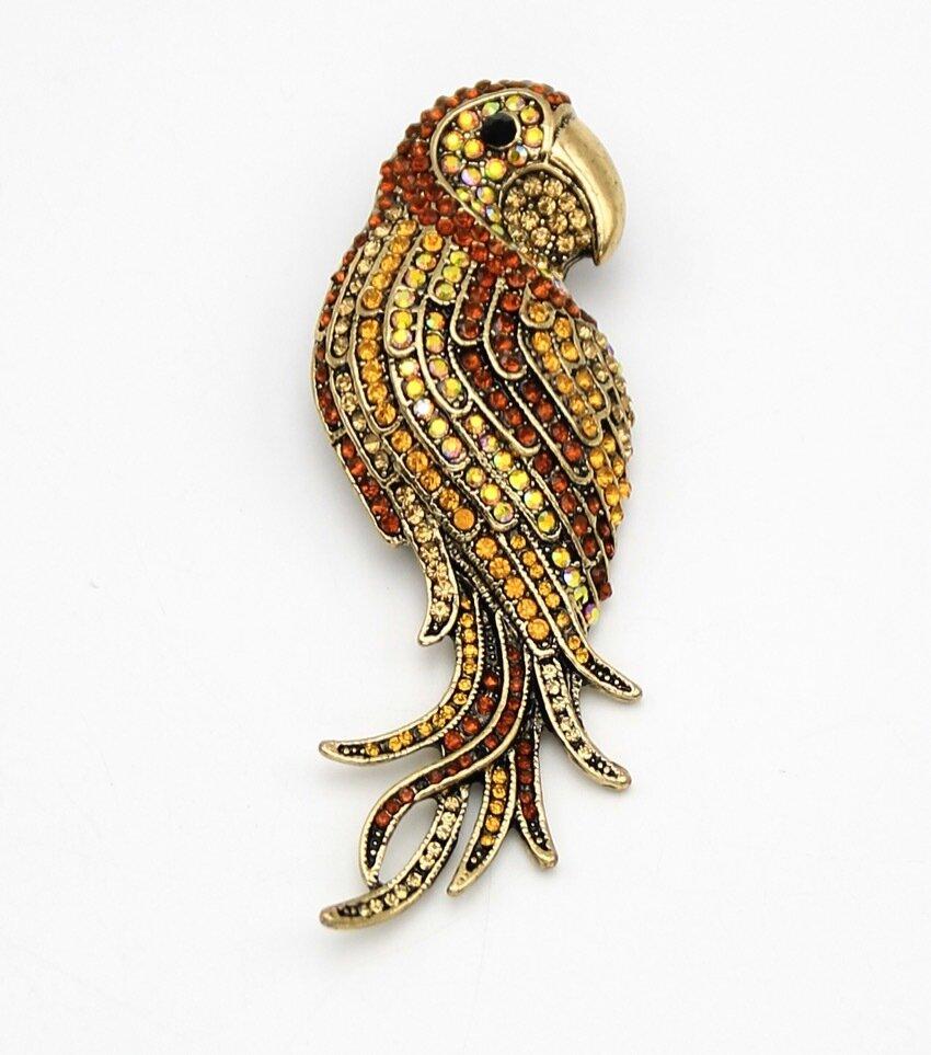 Crystal Parrot Brooch Pin