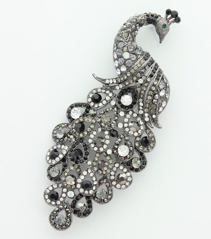 Large Statement Crystal Dazzled Peacock Brooch Pin