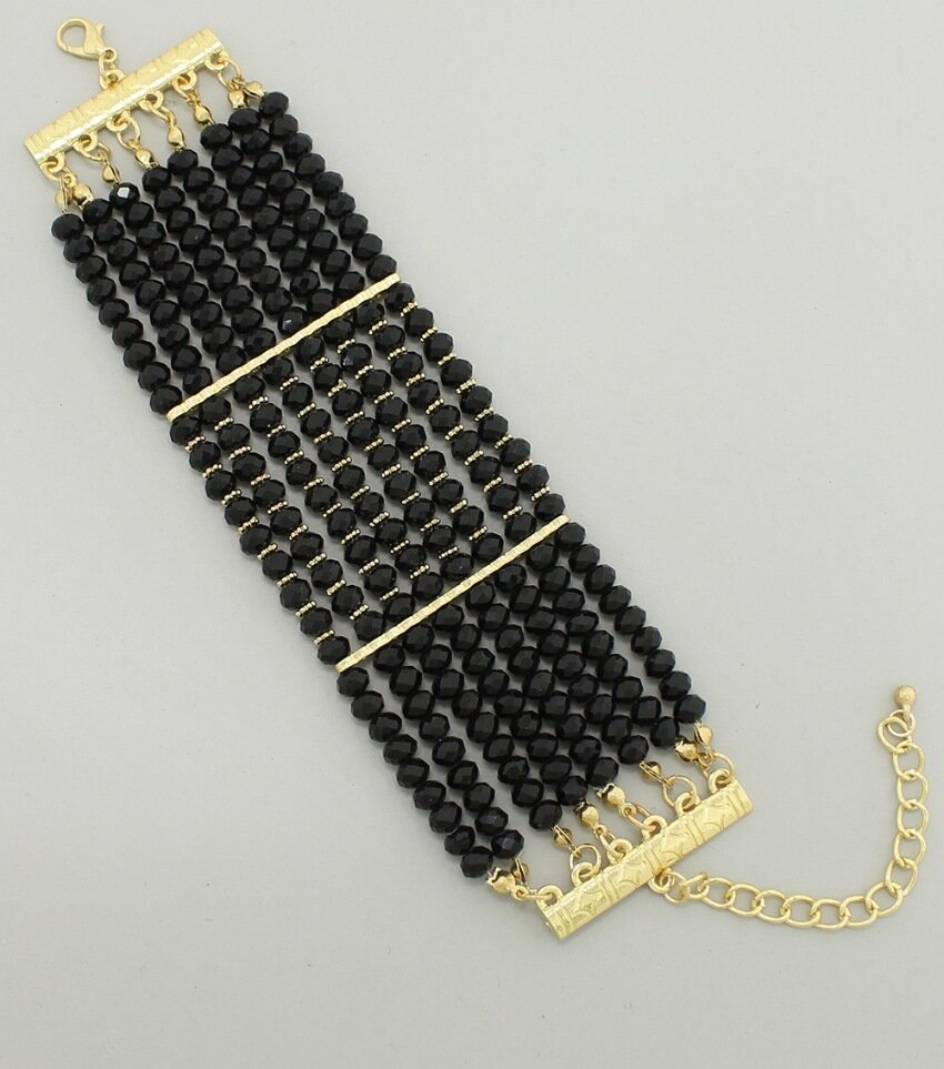 Wide 8-Row Crystal Cabochon Bracelet
