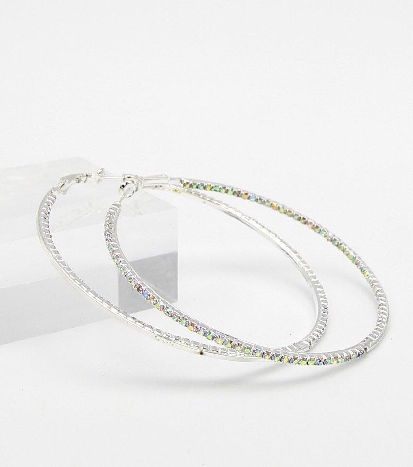 Insideout Rhinestone Classic Hoop Earrings