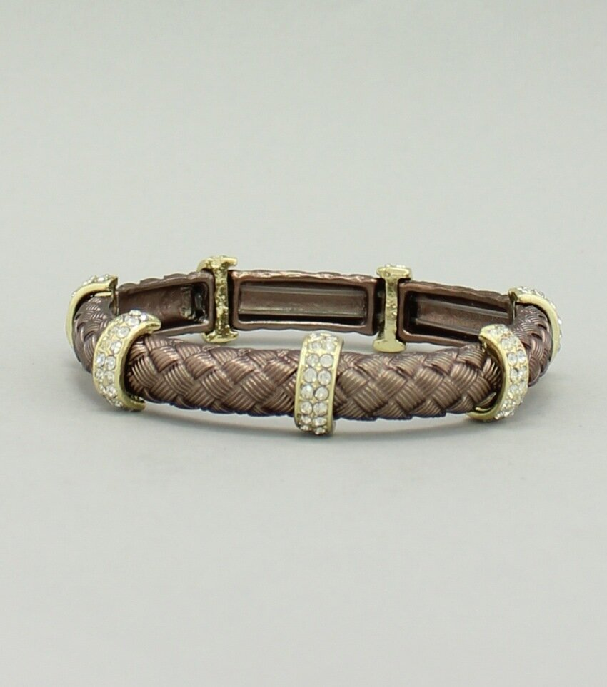 Plated Woven Texture Rhinestone Stretch Bracelet