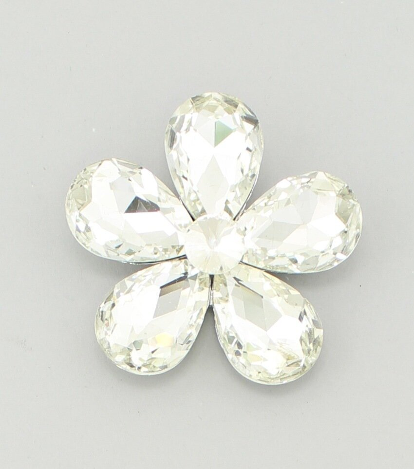 Statement Crystal Flower Brooch Pin