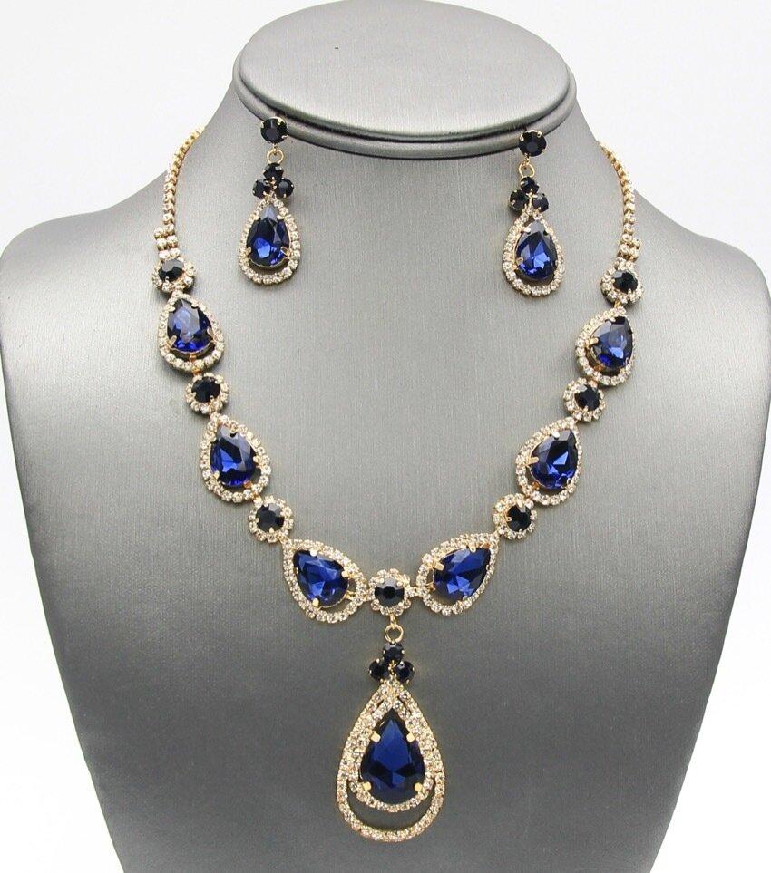 Elegant Crystal Pave Tear Drop Pendant Necklace Set