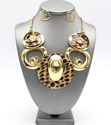 Deco Craft Jeweled Animal Print Disc Necklace Set