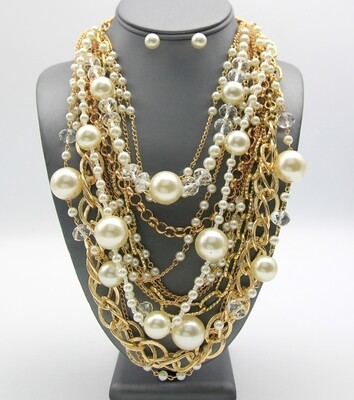 Multi-Strand Pearl Chain Collar Necklace Set