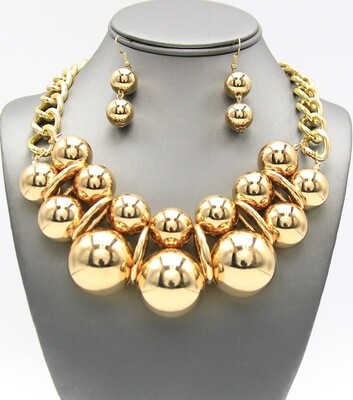 Statement Metal Ball Bib Necklace Set